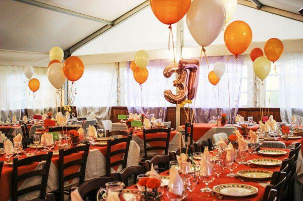 sala ricevimenti allestimento tavoli compleanno